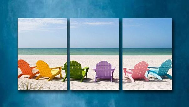 Colorful Beach Chairs 3 Piece Gallery Wrap Canvas Print--Coastal Passion