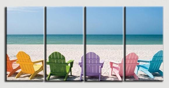 Colorful Beach Chairs Gallery Wrap Canvas Print-Polyester Canvas-Coastal Passion