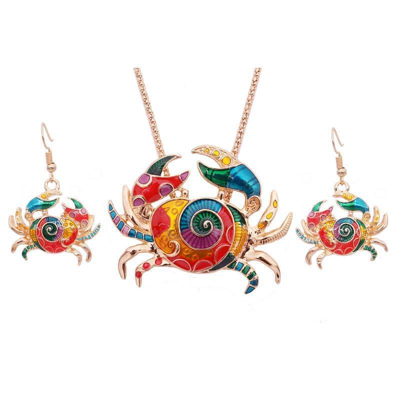Colorful Crab Jewelry Set--Coastal Passion
