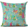 "Colorful Dreams Collection-Pillow Cover-Design 2-17"" x 17""-Linen Blend-Coastal Passion"