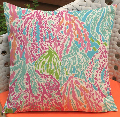 "Colorful Dreams Collection-Pillow Cover-Design 5-17"" x 17""-Linen Blend-Coastal Passion"