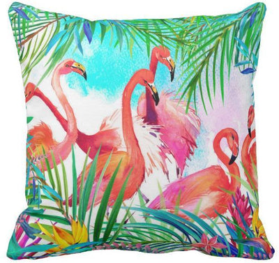 "Colorful Flamingo Pillow Cover-Pillow Cover-17"" X 17""-Standard: Linen-Polyester-Coastal Passion"