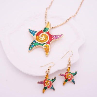 Colorful Starfish Jewelry Set-gold-Coastal Passion