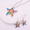 Colorful Starfish Jewelry Set-silver-Coastal Passion