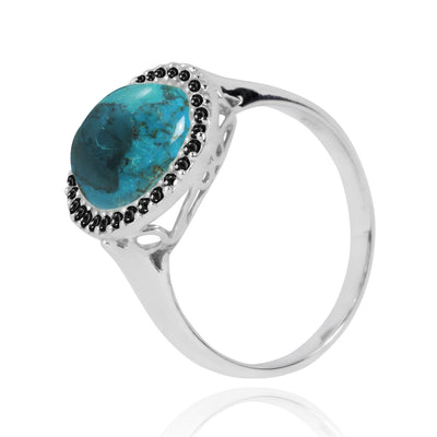 Ring-Compressed Turquoise Cocktail Ring with 30 Round Shape Black Sapphire Stones-Coastal Passion