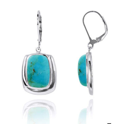 Earrings-Compressed Turquoise Lobster Clasp Earrings-Coastal Passion