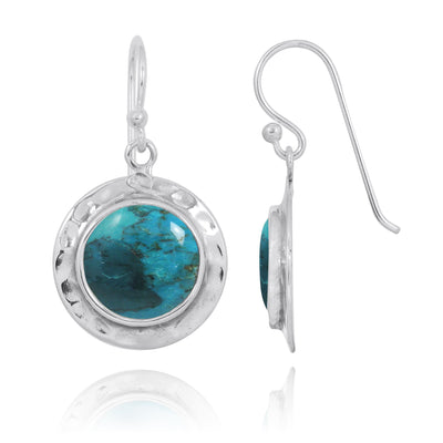 Earrings-Compressed Turquoise Oxidized Silver Drop Earrings-Coastal Passion