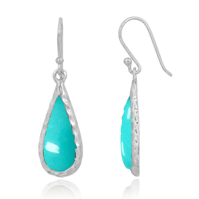 Earrings-Compressed Turquoise Oxidized Silver French Wire Earrings-Coastal Passion