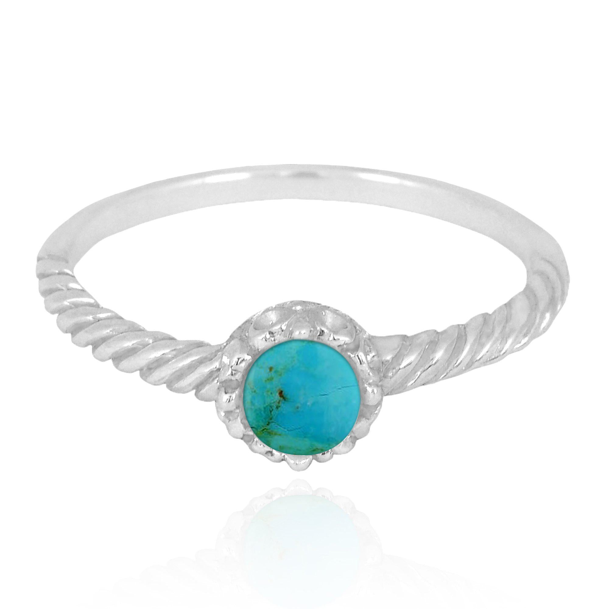 Compressed Turquoise  Solitaire Ring