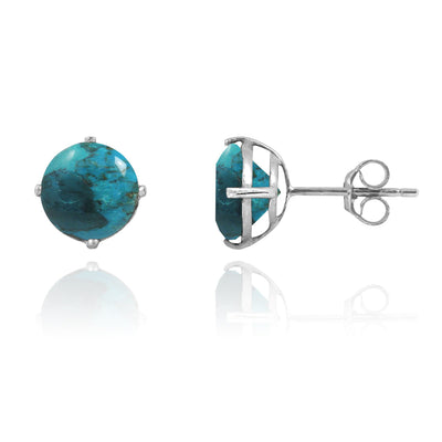 Earrings-Compressed Turquoise Stud Earrings-Coastal Passion