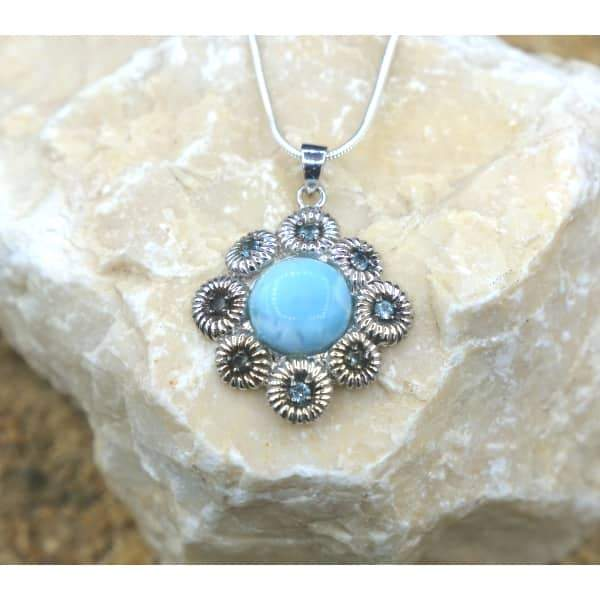 -Coral Shaped Larimar Pendant with 8 Blue Topaz Stones - Only One Piece Created-Coastal Passion