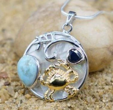 One of a Kind Necklace-Crab Pendant Necklace with Larimar, Lapis Lazuli and Mother of Pearl Mosaic-Coastal Passion