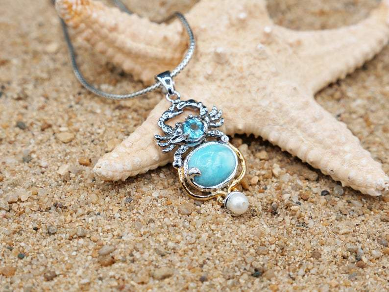 -Crab Pendant with Larimar, Blue Topaz and Pearl - Only One Piece Created-Coastal Passion