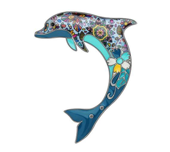 Dolly Dolphin - Enamel Brooch-Coastal Passion
