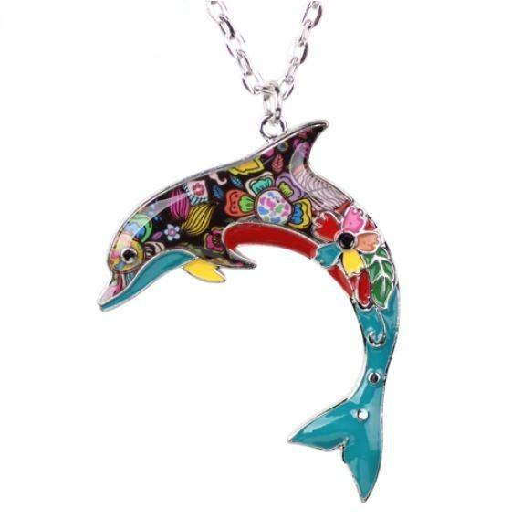 Dolly Dolphin - Enamel Pendant Necklace-Coastal Passion
