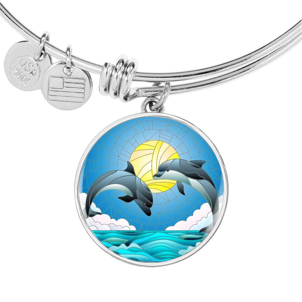 Dolphin Dancing Bangle Bracelet