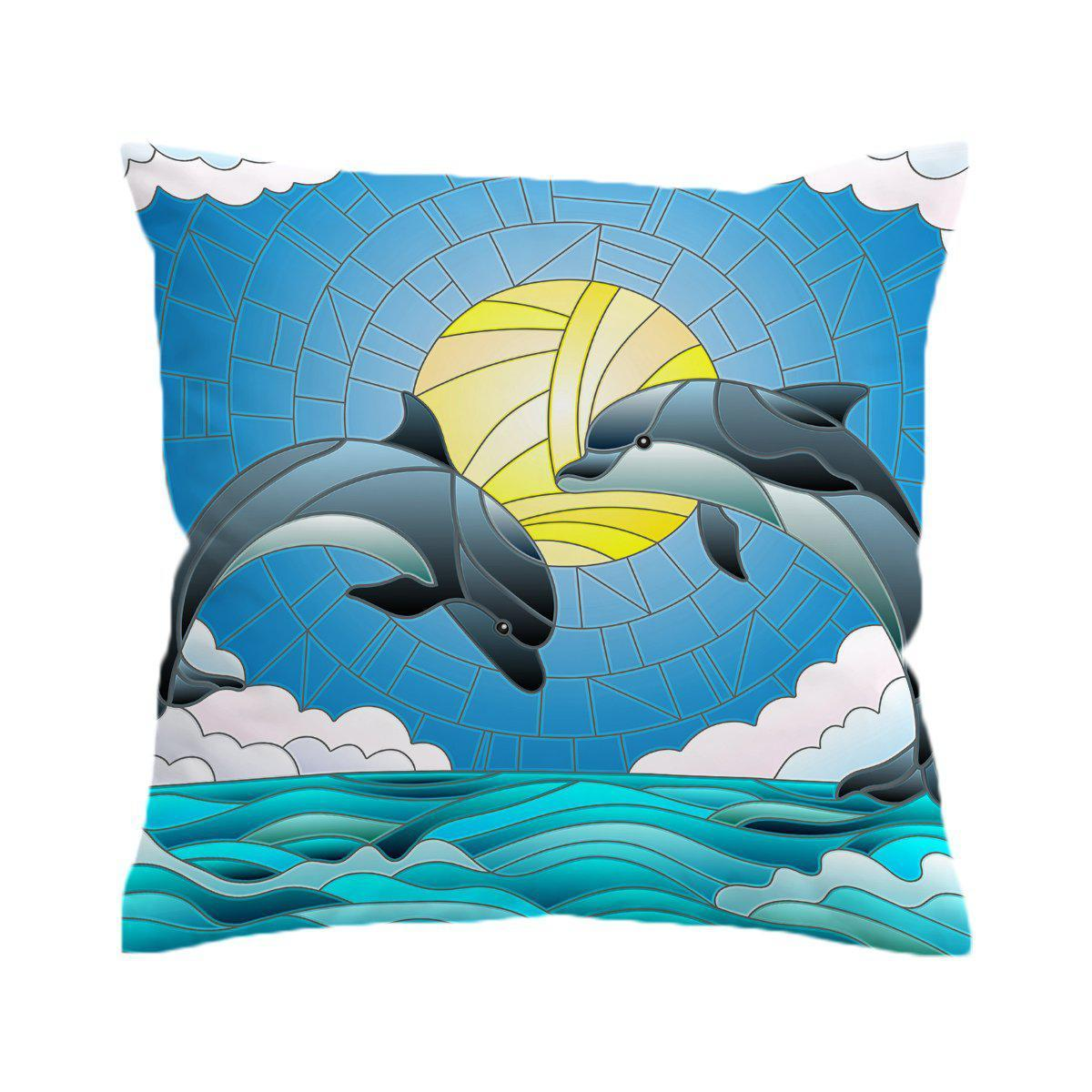 Dolphin Dancing Pillow Cover-Coastal Passion