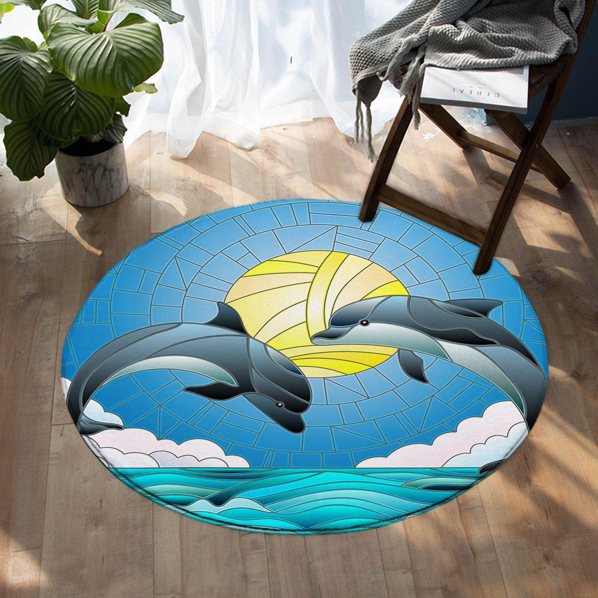 -Dolphin Dancing Round Area Rug-Coastal Passion