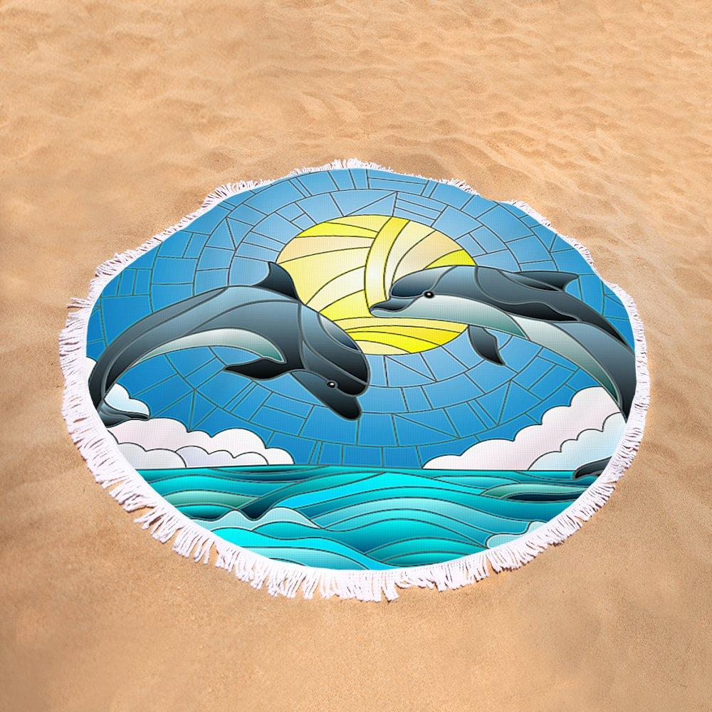 Round Beach Towel-Dolphin Dancing Round Beach Towel-Coastal Passion