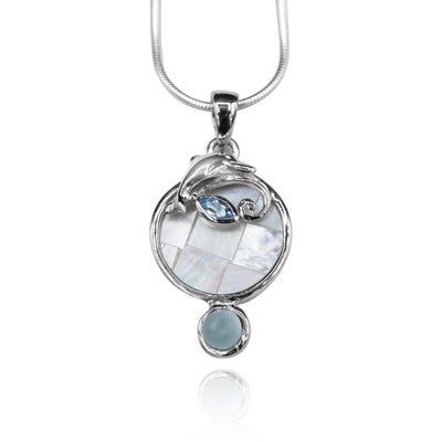 Round shape larimar , blue topaz , mother of pearl sea Dolphin   pendant