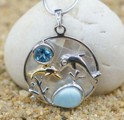 One of a Kind Necklace-Dolphin Pendant Necklace with Larimar, Swiss Blue Topaz and Mother of Pearl Mosaic-Coastal Passion