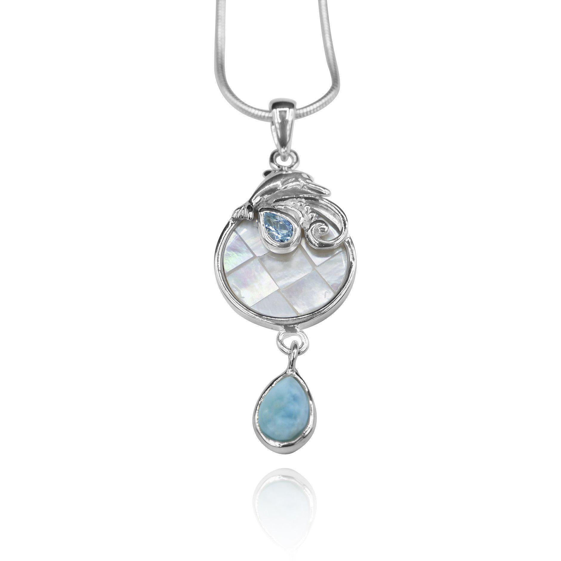 Dolphin Pendant Necklace with Swiss Blue Topaz, Mother of Pearl Mosaic and Larimar Stone