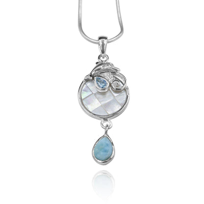Pear shape larimar , swiss blue topaz , Dolphin , mother of pearl pendant