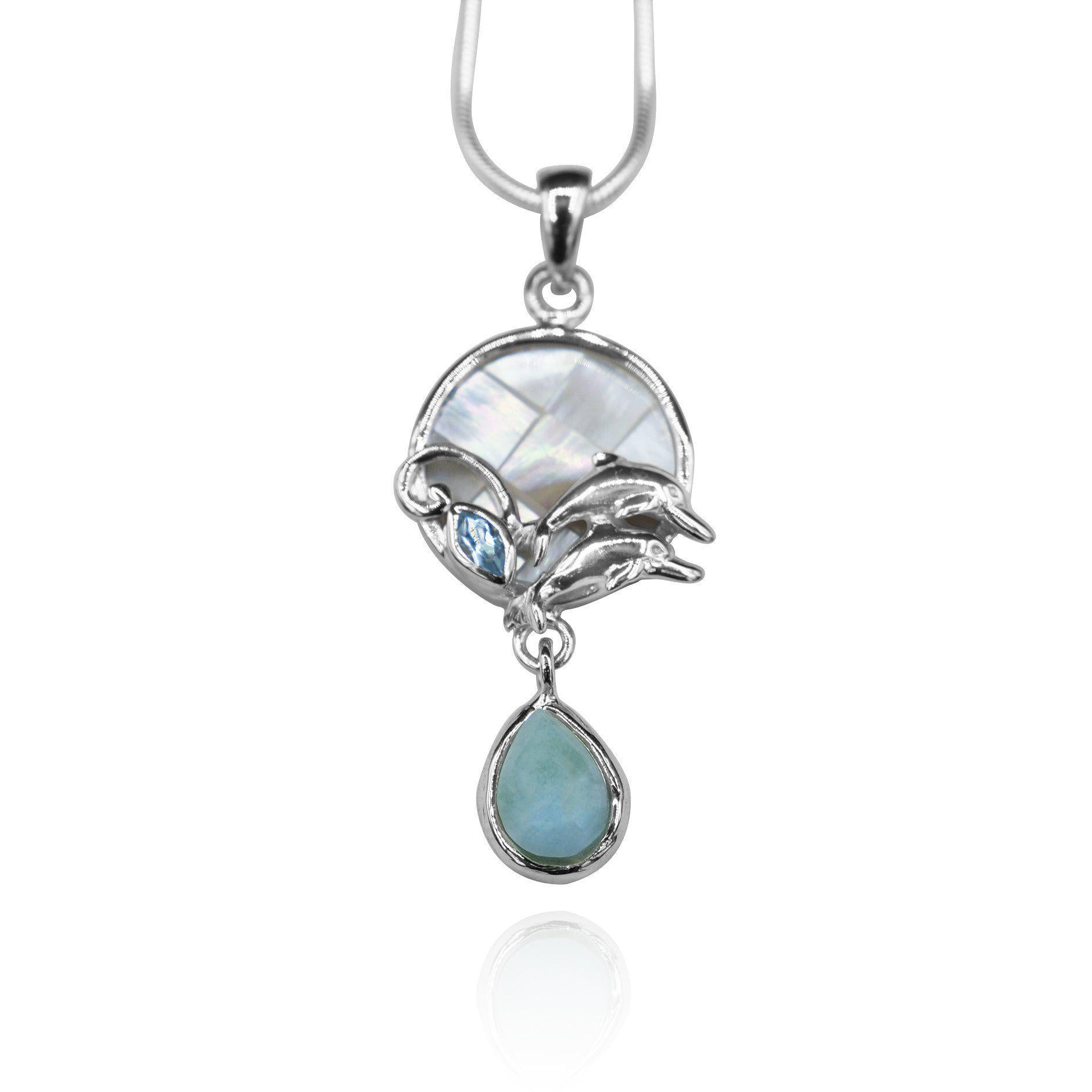 Dolphins Pendant Necklace with Blue Topaz, Mother of Pearl Mosaic and Larimar Stone