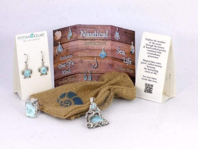 One of a Kind Necklace-Dolphins Pendant Necklace with Two Larimar Stones and Mother of Pearl Mosaic-Coastal Passion