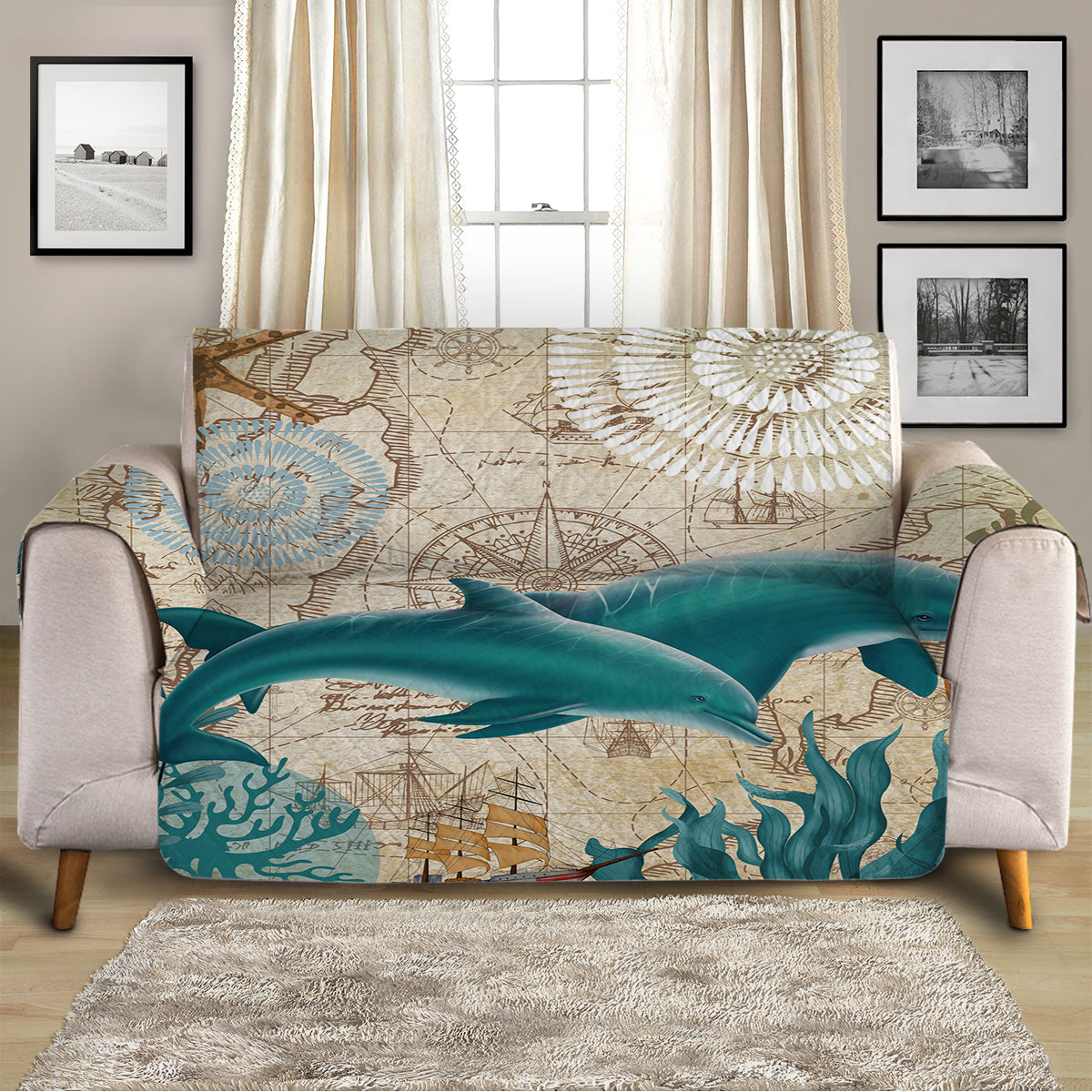Dolphin Love Sofa Cover