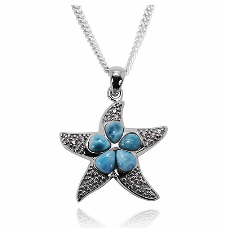 Caribbean Larimar Starfish Pendant Necklace