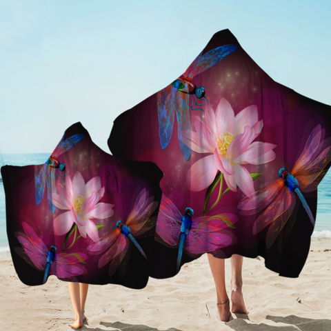 Dragonflies and Lotus Hooded Towel-Coastal Passion
