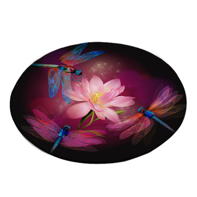 -Dragonflies and Lotus Round Area Rug-Coastal Passion