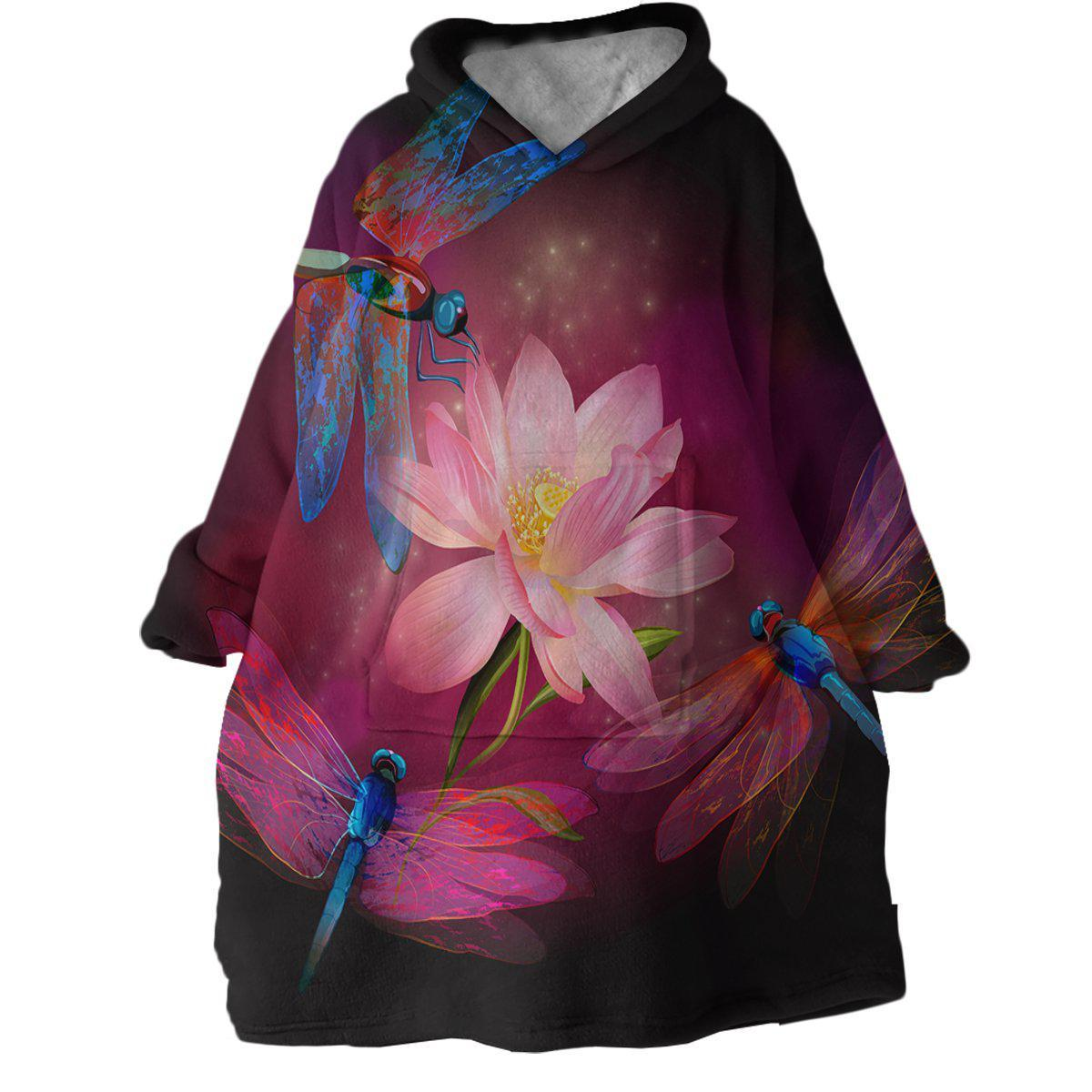 Dragonflies and Lotus Wearable Blanket Hoodie-Coastal Passion