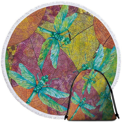 Round Beach Towel-Dragonflies Dancing Towel + Backpack-Coastal Passion