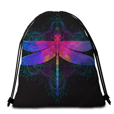 Round Beach Towel-Dragonfly Dreams Towel + Backpack-Coastal Passion