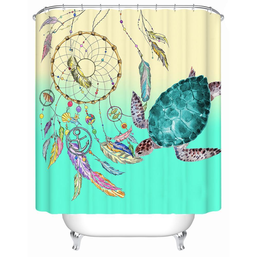 "Sea Turtle Dreaming Shower Curtain-Shower Curtain-59"" L. x 70"" H.-Coastal Passion"
