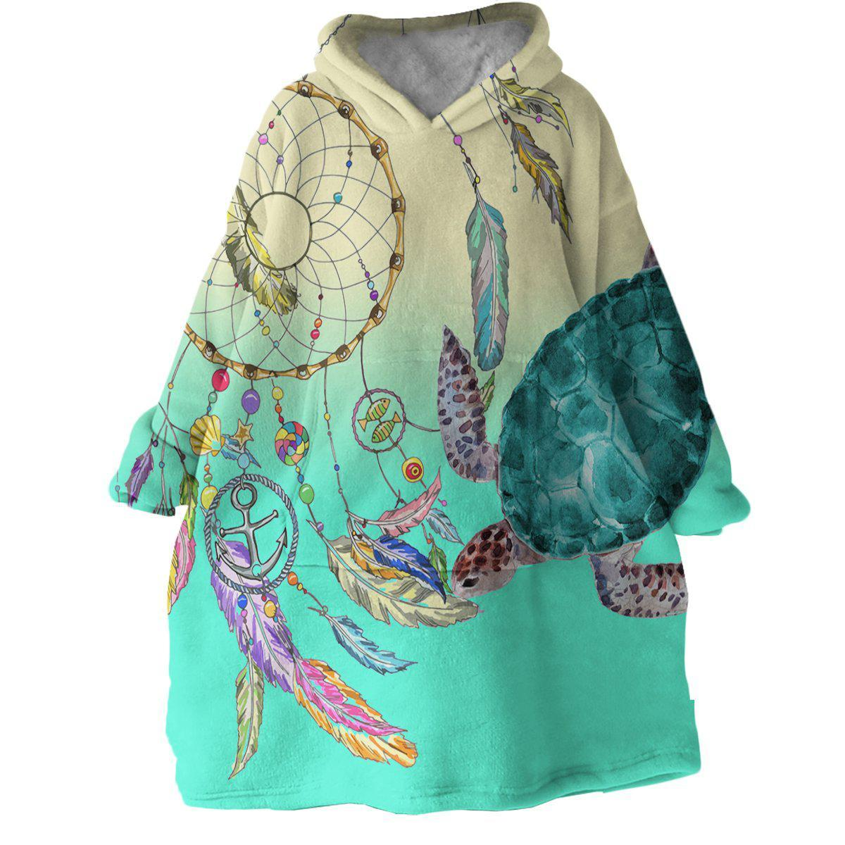 Dreamcatcher and Sea Turtle Wearable Blanket Hoodie-Coastal Passion