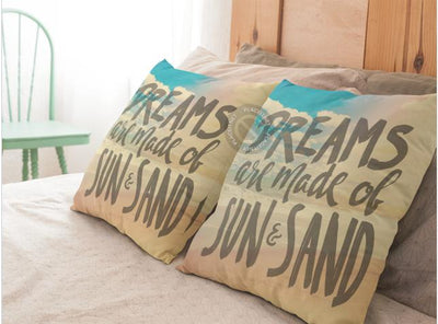 Dreams Are Made of Sun And Sand Pillow Cover-Pillow Cover-Coastal Passion