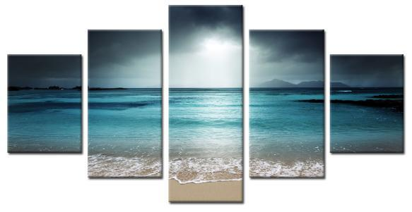 Electric Blue Shore Gallery Wrap Canvas Print-Small-Polyester Canvas-Coastal Passion