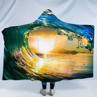 "Eye of the Ocean Cozy Hooded Blanket-Fleece Hooded Blanket-Adults Size 80"" x 60""-Coastal Passion"
