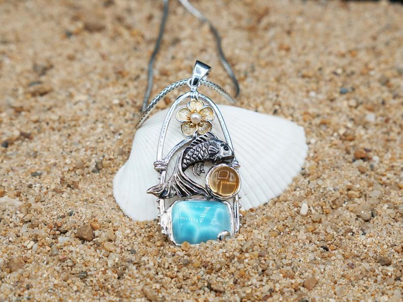 -Fish and Hibiscus Pendant with Larimar and Citrine Stone - Only One Piece Created-Coastal Passion