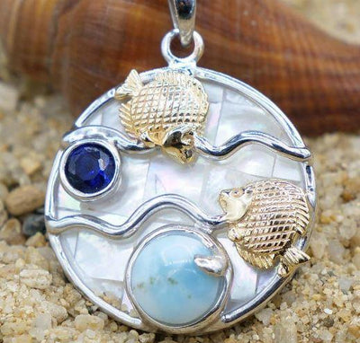 One of a Kind Necklace-Fish Pendant Necklace with Larimar, Lapis Lazuli and Mother of Pearl Mosaic-Coastal Passion