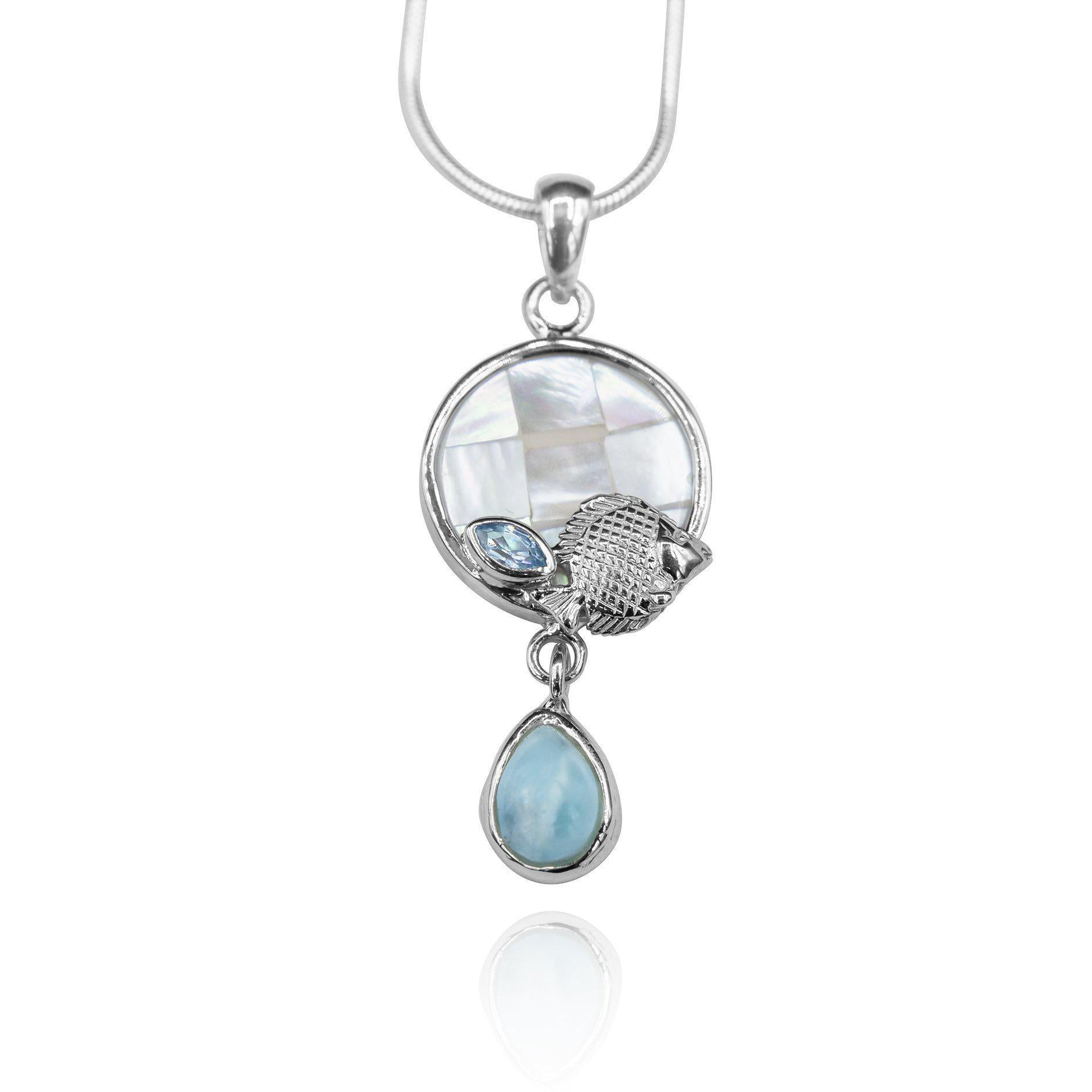 Fish Pendant Necklace with Larimar Stone, Blue Topaz and Mother of Pearl Mosaic