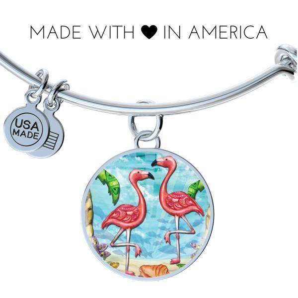 Flamingo Beach Bangle Bracelet-Bangle Bracelet-Bangle-Bracelet adjustable-Coastal Passion