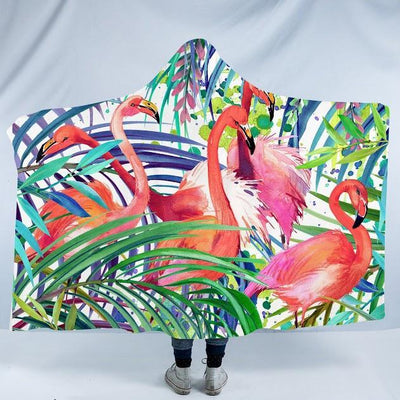 "Flamingo Passion Cozy Hooded Blanket-Fleece Hooded Blanket-Adults: Size 80"" x 60""-Coastal Passion"