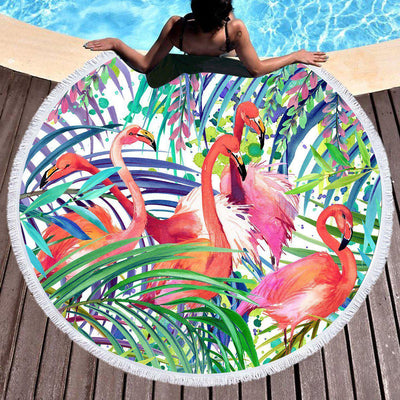 Flamingo Passion Round Beach Towel-Round Beach Towel-Coastal Passion