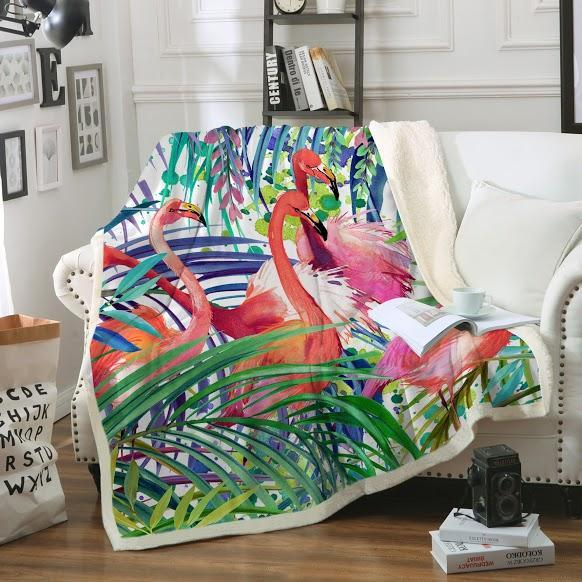 Flamingo Passion Soft Sherpa Blanket-Blanket-Coastal Passion