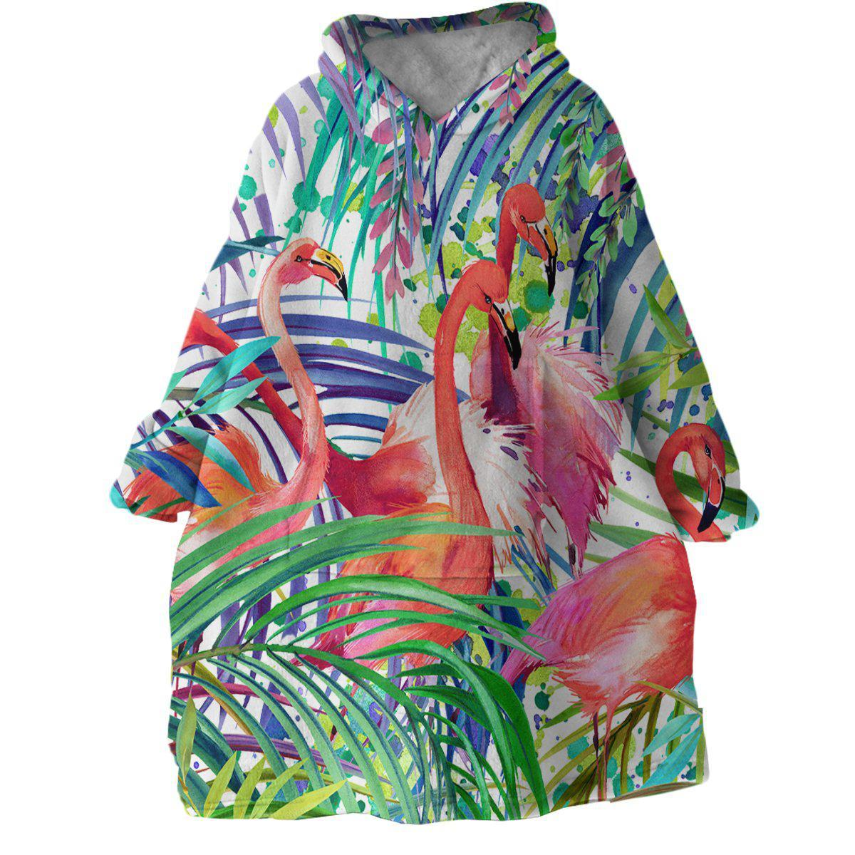 Flamingo Passion Wearable Blanket Hoodie-Coastal Passion