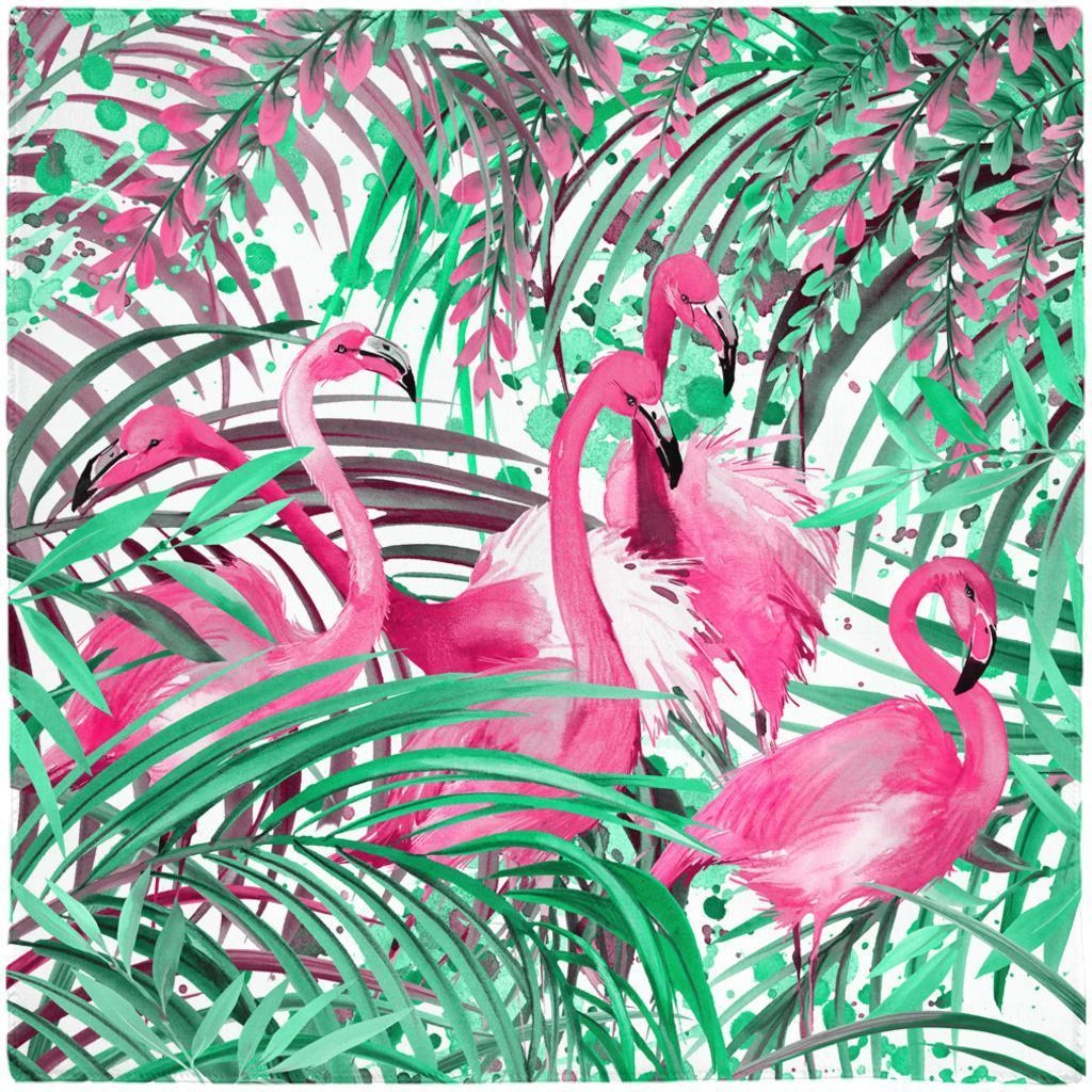 Flamingos Painting Poly-Voile Scarf--Coastal Passion